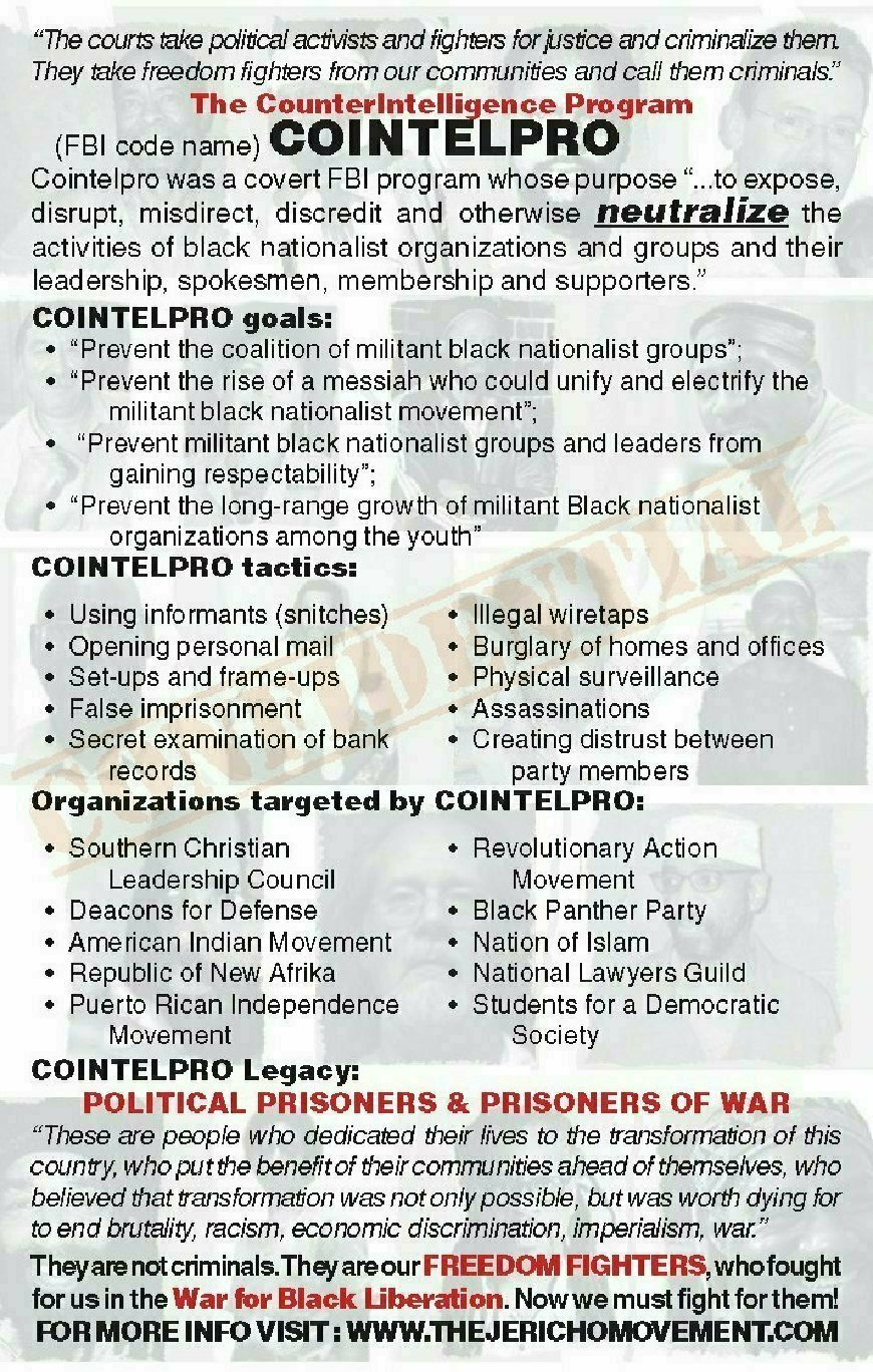 come & denounce the murderous cointelpro legacy of fbi
