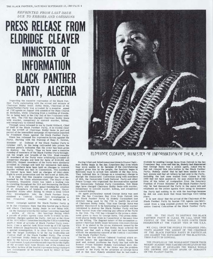 Press Release from Eldridge Cleaver