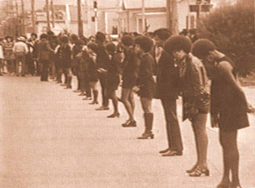 Panther women line up during funeral