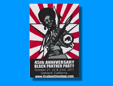 1. 45th yr poster for It's About Time Poster by Emory Douglas -- 2. Kenny Zulu Whitmore Political Prisoner, Angola